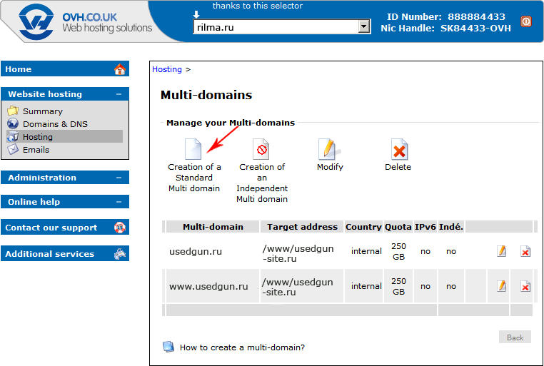 Manage your Multi-domains