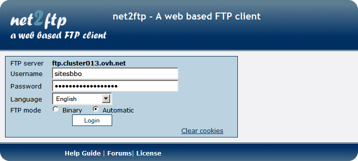 NET2FTP a web based FTP client